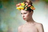 girl with spring wreath