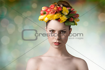 woman in spring beauty portrait