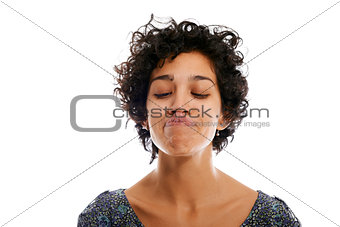 portrait of woman toughing nose with tongue