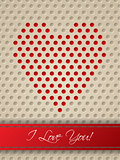 Valentine card with heart shaped dots