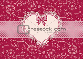 Greetings card with heart frame and dotted ribbon