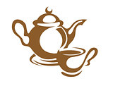 Teapot, cup and saucer icon in brown
