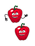 Two happy smiling red bell peppers