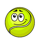 Cartoon tennis ball with a wry smile