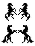 Silhouettes of pairs of prancing horses