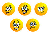 Five cute yellow vector emoticons