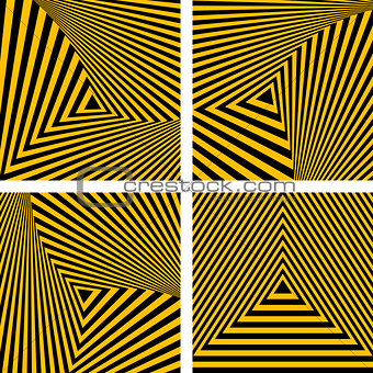 Abstract backdrops set. Striped triangles textures.