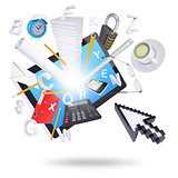 Tablet pc and office supplies