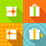 set of icons gift box bright colors
