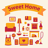 set of icons of a cozy home