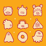 set of icons monsters