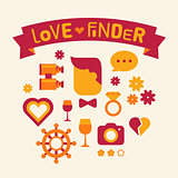 Set of icons love finder