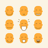 set of icons with yellow faces