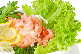 shrimp salad on fresh lettuce leaves