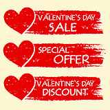 valentines day sale and discount, special offer with hearts in r