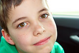 closeup of cute young eleven years boy