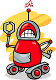 angry robot cartoon illustration