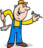 worker with nail cartoon illustration