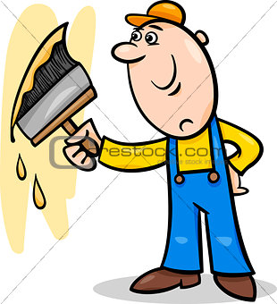 worker with brush cartoon illustration