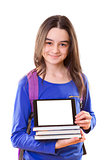Teenager girl with schoolbag and digital tablet