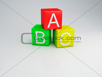 Blocks ABC letters, 3d render