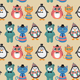 Cute fashion Hipster Animals Pets vector  Seamless Background