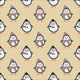 Cute Hipster Penguins Seamless Background. Vector Illustration