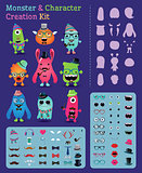 Hipster Freaky Monster and Character Creation Kit. Fully editable and customizable. Vector illustration.