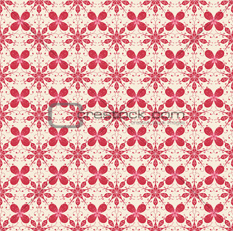 Floral pattern in beige and red colors
