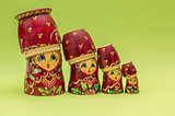Red russian wooden nesting  dolls