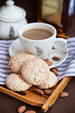 Almond cookies and cup of coffee