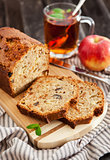 Apple nut cake on wooden board