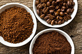 coffee beans, ground coffee and instant coffee