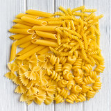 the various raw pasta background