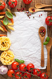 blank paper for recipes with tomatoes pasta pepper