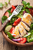chicken salad with tomatoes and cucumber