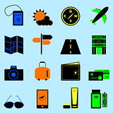 Travel colorful icons set on light blue background