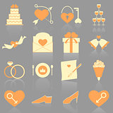 Wedding color icons with reflect