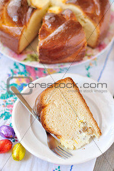 A slice of sweet bread with quark center