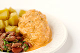 Chicken breast Diane with potatoes and kidney beans