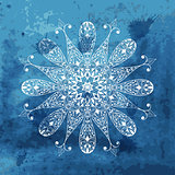 Vector white snowflake on watercolor blue background and blobs
