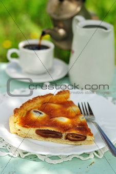 A piece of Italian date and mascarpone tart