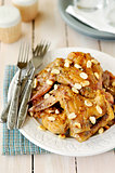 Honey and Mustard Glazed Chicken Wings with Peanuts