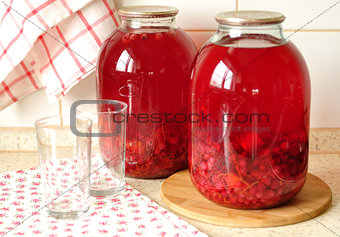 Canned Redcurrant and Orange Compote, selective focus