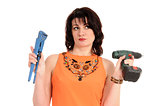 woman with screwdriver andwrench