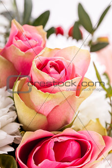 Bouquet of fresh pink and white flowers