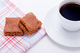 sweet cookies biscuit with black coffee
