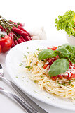 tatsty fresh spaghetti with tomato sauce and parmesan isolated