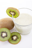 fresh delicious kiwi yoghurt shake cream isolated
