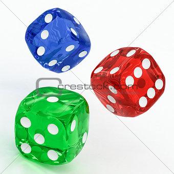 three dices falling
